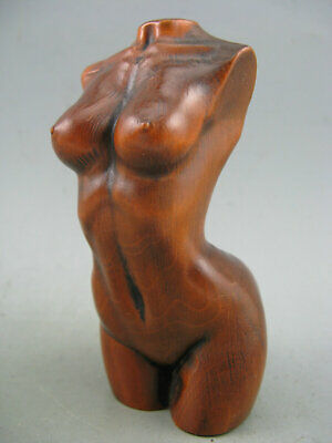 Antique Chinese Old Boxwood Hand Carved Sexy Beauty Figure Statue
