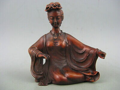 Antique Chinese Old Boxwood Hand Carved Beautiful girl Statue
