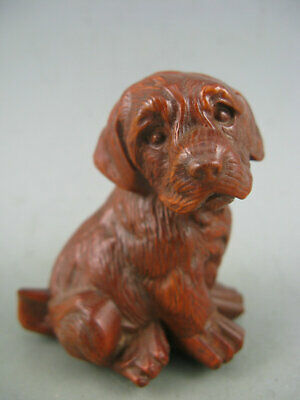 Antique Chinese Old Boxwood Hand Carved Dog Statue