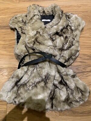MANGO Light Brown/Grey Faux Fur Gilet with Belt - Size 8 / Size S (NEW)