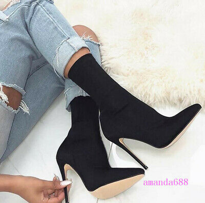 Womens Mens Nightclub Sexy Pointed Toe Stretch Fabric Ankle Boots Stiletto 35-43
