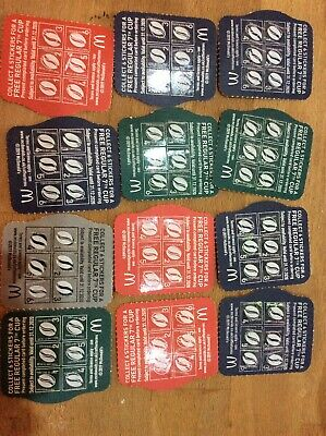 12 McDonalds hot Drinks completed stickers loyalty reward cards vouchers31/12/20