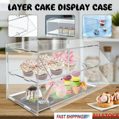 2 Layer Acrylic Bakery Pastry Display Case Cupcakes Stand Cabinet Cakes