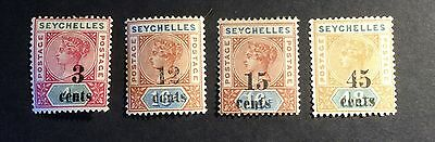 Seychelles QV 1893 Overprints MM