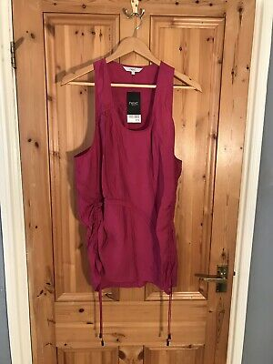 Pink Ruffle Rouched Sleeveless Top NEXT Size 18 BNWT £25 Party String B743