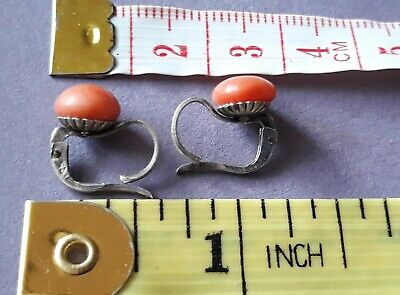 Antique French Victorian Era Salmon Coral Fine Silver Lever Back Stud Earrings.