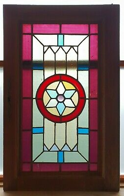 Antique Leaded Stained Glass Window Panel Reclaimed Cabinet Door E/0387