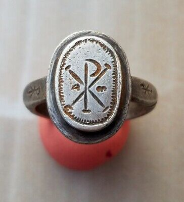 ANCIENT ROMAN SILVER  RING roman christogram 300- 500 AD 20mm very rare