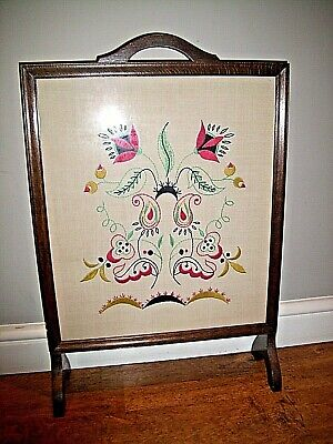 Antique Oak Fire Screen with Hand Embroidered Floral Design Under Glass Panel