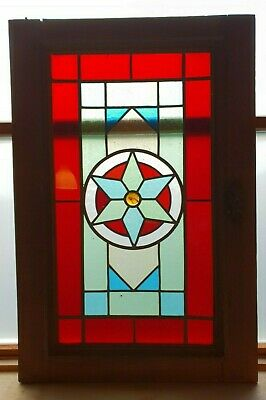 Antique Leaded Stained Glass Window Panel Reclaimed Cabinet Door E/0388