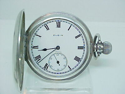 Superb Antique pocket watch solid silver 1914 Elgin full hunter