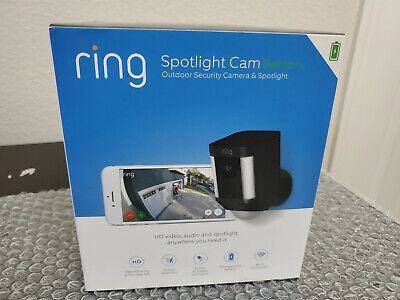 ​New in Box Ring Spotlight Cam Wire Free Black BATTERY 1080 HD Video 8SB1S7BEN0