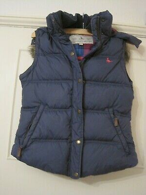 Jack Willis girls' padded/quilted lined gilet with faux fur trimmed hood 8/10