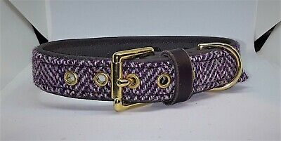 Pink and purple Harris Tweed on Brown leather dog collar with brass hardware