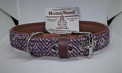 Pink and Purple Harris tweed on Tan leather dog collar