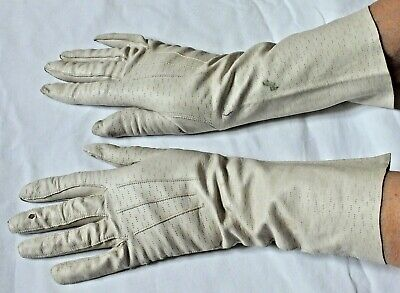 Cream Ivory bracelet length LEATHER GLOVES by MORLEY,London.