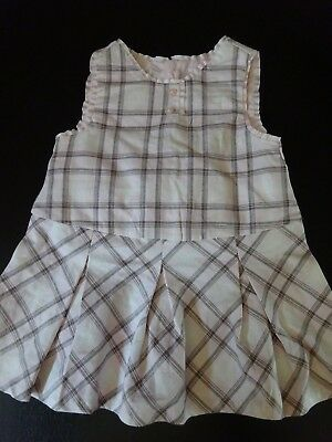 **Bnwt**Pale Pink & Grey Checked Summer Dress**Age 12 Months**