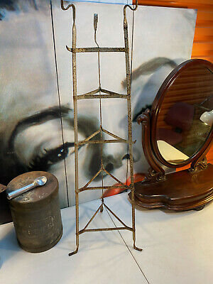 Vintage Australian 1920s Wrought Iron Kitchen Pot Utensil Graduating Stand 103cm