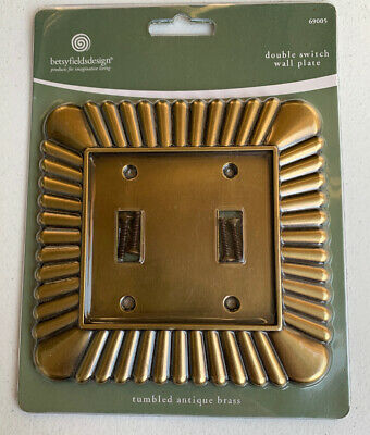 Double 2-Gang TUMBLED ANTIQUE BRASS Switch Wall Plate Gold betsy fields design