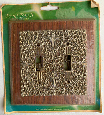 Vintage New LIGHT TOUCH Double SWITCH PLATE Angelo GENUINE WOOD DESIGNER 2-Gang