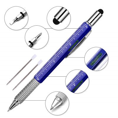Super 6-in-1 Multifunction Pen Ruler, Spirit Level, Ballpoint Pen, Stylus, Flat
