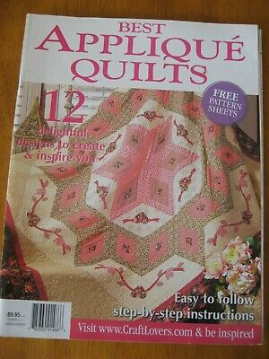 BEST APPLIQUE QUILTS MAGAZINE 12 patterns wedding ring flower bird rainbow heart