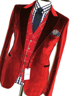 Bnwt Mens Paul Smith London Smoking Smooth Velvet Sports Suit Jacket Blazer 42R