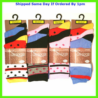 3 New Pairs Girls Stripe Multi Colour Everyday Socks Size 4-7 Smart Casual