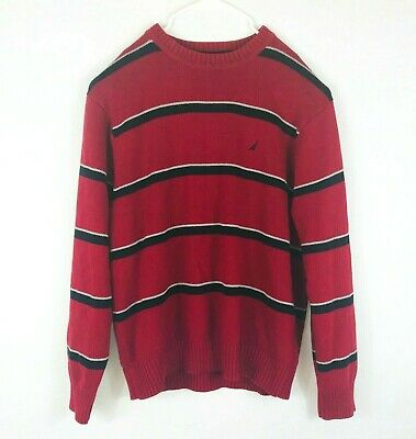 Nautica mens crew neck knit sweater size XL red striped classic thick ribbed