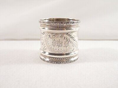 NAPKIN RING ~ STERLING SILVER BRIGHT CUT ENGRAVED LEAF DESIGN by TOWLE (Ca.1890)