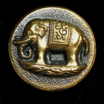Antique BUTTON Victorian Tinted Blue Brass Metal ELEPHANT Nice!  A9