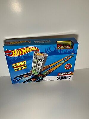 Hot Wheels Action Drag Race Track Set Dragstrip Champion Playset Toys Age 4-10