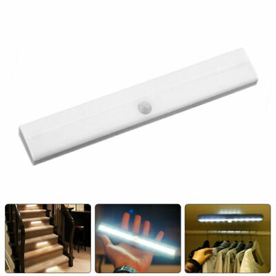 10LED Night Light with Motion Sensor PIR Wireless Battery Wall Cabinet Closet qw