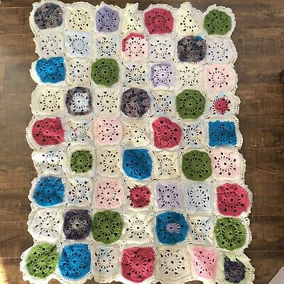 Crochet Baby Blanket Afghan Lap Granny Squares Colorful 36 x 48 Girl Boy Gift
