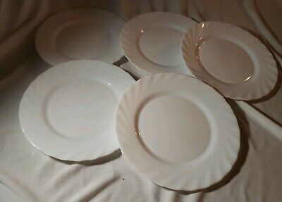 Arcopal France White Milk Glass salad plate lot of 5