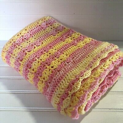 Crochet Baby Blanket Afghan Lap Pink Yellow Stripes 39 x 50 Baby Girl Gift