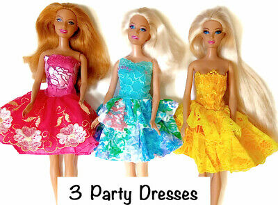 Brand new Barbie doll clothes 3 party summer dress clothes clothing.