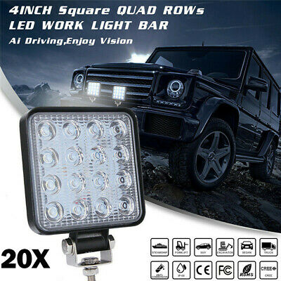 20x 48W LED Work Light Square 12V Off Road Flood Spot Lamp For Car Truck SUV 4WD