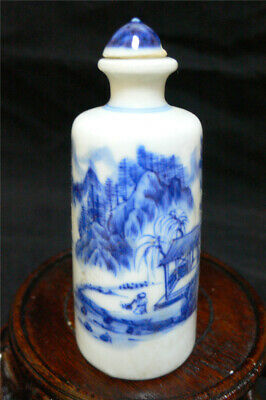 Old Chinese Blue & White Porcelain Pictured  Snuff Bottle 90mm ca 2