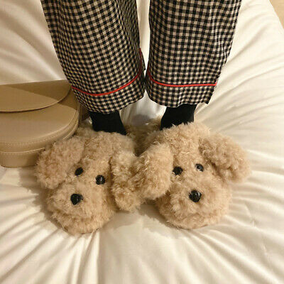 Ladies Furry Teddy Dog Slippers Winter Warm Indoor Half Pack With Cotton Slipper