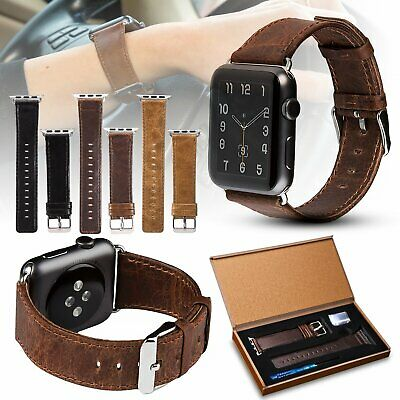 Genuine Leather Apple Watch Band Strap for iWatch Series 5 4 3 2 1 38/42/40/44mm