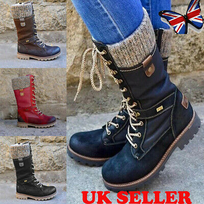 Women's Mid Calf Lace Up Boots Ladies Army Combat Military Biker Flat Shoes Size