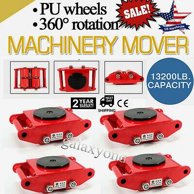 4Pcs/Set Machine Dolly Skate Machinery Roller Mover Cargo Trolley 13200lbs/6 Ton