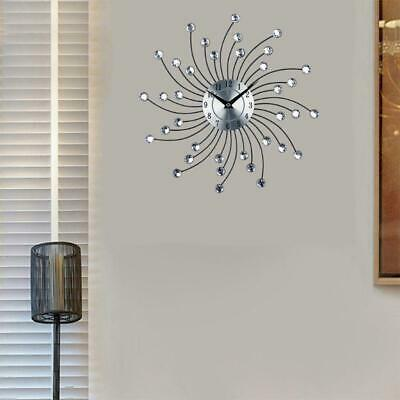 Beaded Crystal Jeweled Sunburst Wall Clock Living Room Home Decor