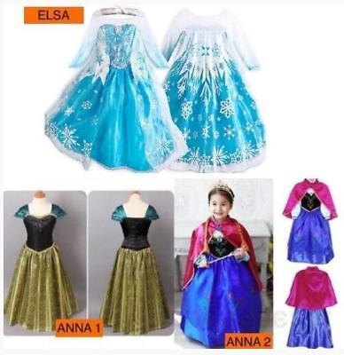 Kids Girls Party Cosplay Princess Elsa Anna Dress Role Costume Fancy Dress Xmas