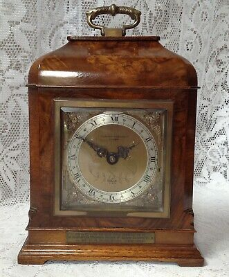 F. W. Elliot Bracket Mantel Clock, Burr Walnut Case, Wind Up Made In England