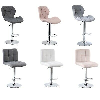 Adjustable Breakfast Bar Stools Leather Fabric Velvet Chair Swivel Lift Kitchen