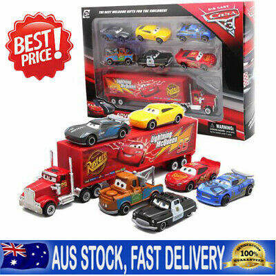Cars 2 Lightning McQueen Racer Car&Mack Truck Collection Toy Kids 7Pcs/Set S4