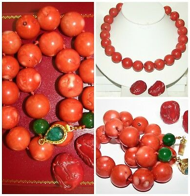 VTG CHINESE ANTIQUE CARVED RED CORAL 20 MM BEADS NECKLACE~EARRINGS 270g RARE!