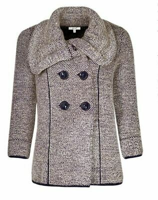 M&S Per Una UK 14 Navy Blue & Cream Coat Knitted Jacket Coatigan Cardigan Warm